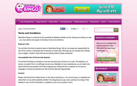 Screenshot of Terms Page madaboutbingo.com - Terms and Conditions | Mad About Bingo - captured Sept. 24, 2014