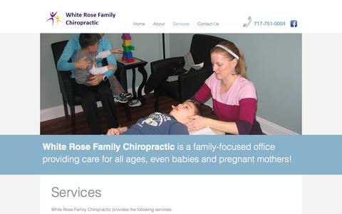 Screenshot of Services Page yorkchiro.com - White Rose Family Chiropractic in York, PA | Services - captured Dec. 3, 2016