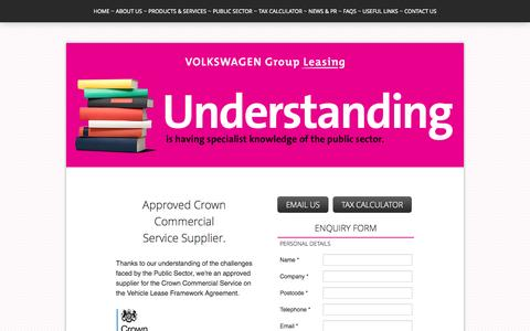 Screenshot of makingleasingsimple.co.uk - Public Sector ~ Approved supplier ~ Volkswagen Group Leasing - captured Oct. 12, 2014