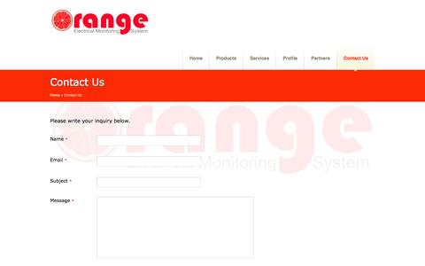 Screenshot of Contact Page orange-monitoring.com - PT. ORANGETAMA MONITORINDO - CONTACT | ORANGE Electrical Monitoring Services - INDONESIA - captured Sept. 30, 2014