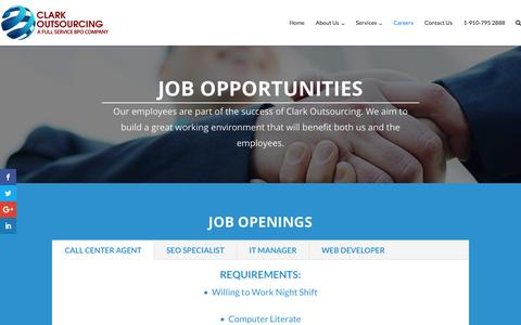 Screenshot of Jobs Page clarkoutsourcing.com - Careers – Clark Outsourcing - captured Jan. 18, 2017