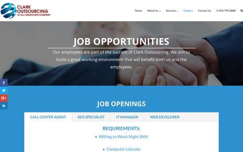 Screenshot of Jobs Page clarkoutsourcing.com - Careers – Clark Outsourcing - captured Jan. 18, 2017