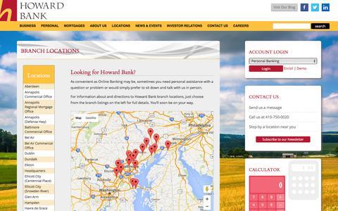 Screenshot of Locations Page howardbank.com - Howard Bank - captured Dec. 13, 2015