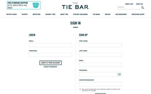 Screenshot of Signup Page thetiebar.com - All Ties | Mens Ties | Discount Neckties | Silk Neckties | Mens Silk Neckties | Long Ties | Paisley Ties | Cotton Ties | Silk Knit Ties - captured March 18, 2017