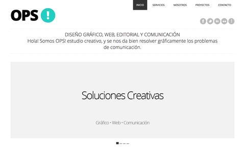 Screenshot of Home Page opsestudiocreativo.com - OPS! estudio creativo | Estudio de diseño gráfico, editorial, web y comunicación - captured Oct. 7, 2014