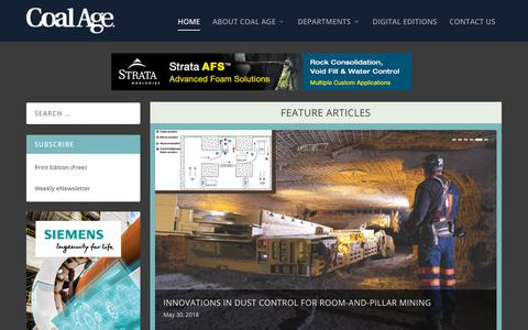 Screenshot of Home Page coalage.com - Coal Age | Serving the Needs of the Coal Mining and Processing Industry - captured July 19, 2018