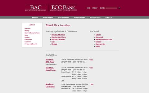 Screenshot of Locations Page bankbac.com - BAC - Regional Bank of Stockton, Lodi, Modesto - Personal, Business, & Online Banking & Investments - captured Oct. 5, 2014