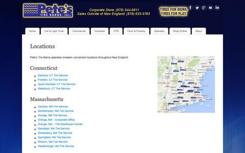 Screenshot of Locations Page petestire.com - Locations | Petes Tire Barns in MA, NH, VT, RI and CT - captured Sept. 27, 2018