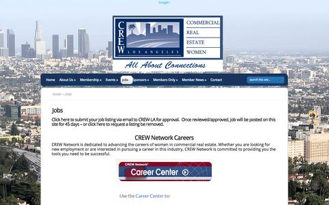 Screenshot of Jobs Page crewla.org - CREW-LA jobs and Careers. Providing opportunites in the Los Angeles  | CREW-LA  - Commercial Real Estate Women - captured Oct. 3, 2014