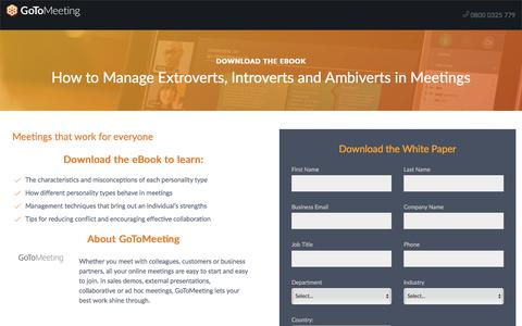 Screenshot of Landing Page gotomeeting.com - How to Manage Extroverts, Introverts and Ambiverts in Meetings - captured April 14, 2018