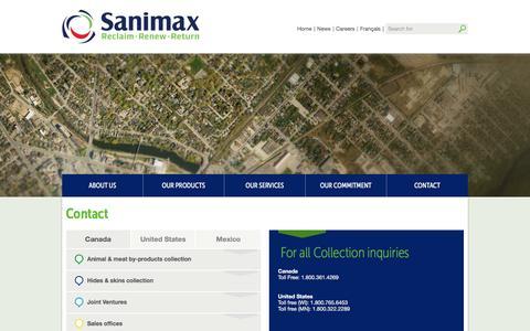 Screenshot of Contact Page sanimax.com - Contact - - captured Dec. 18, 2015