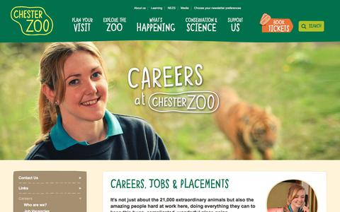 Screenshot of Jobs Page chesterzoo.org - Careers, Jobs & Placements at Chester Zoo - captured July 9, 2018