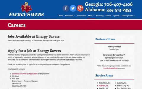 Screenshot of Jobs Page energysaversair.com - Careers | Energy Savers - captured Sept. 28, 2018
