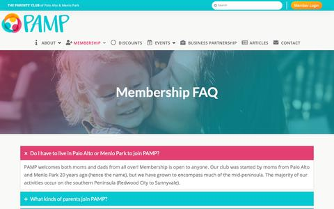 Screenshot of FAQ Page pampclub.org - Membership FAQ | PAMP Club - captured Nov. 16, 2018