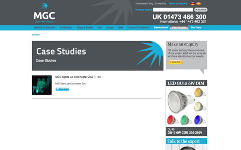 Screenshot of Case Studies Page mgc-lighting.com - Case Studies | MGC Lighting Group - captured Oct. 3, 2014