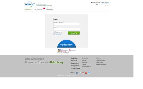 Screenshot of Login Page toboc.com - Members Login, Global Business to Business Marketplace, International Exporters, Importers B2B Directory - captured Sept. 19, 2014
