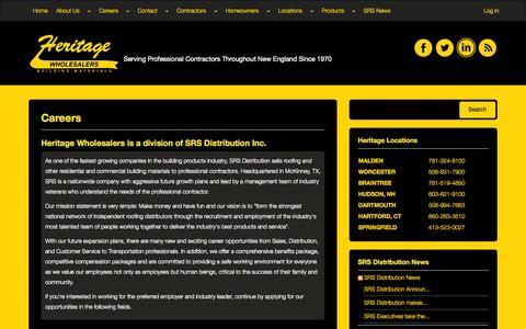Screenshot of Jobs Page heritagewholesalers.com - Heritage Wholesalers   Careers - captured Nov. 2, 2014