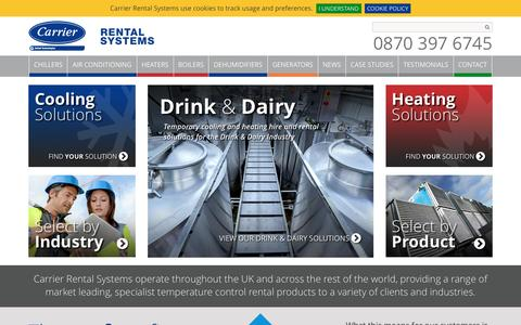 Screenshot of Home Page carrierrentalsystems.co.uk - HVAC Equipment for Hire   Carrier Rental Systems - captured May 14, 2017