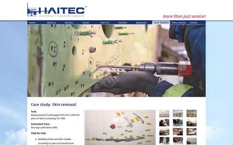 Screenshot of Case Studies Page haitec.aero - Skin Removal - HAITEC - captured Oct. 18, 2016