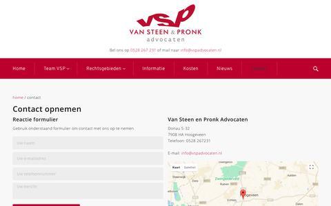 Screenshot of Contact Page vspadvocaten.nl - Contact - captured Nov. 11, 2017