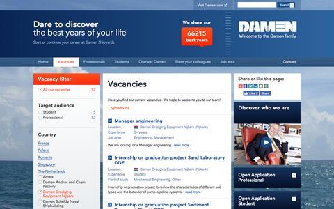 Screenshot of Jobs Page damen.com - Explore a wide range of vacancies and internships at Damen - captured Nov. 23, 2016
