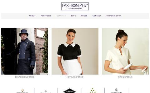 Screenshot of Services Page fashionizer.com - Hotel Uniform Services | Fashionizer Couture Uniforms - captured Oct. 22, 2018