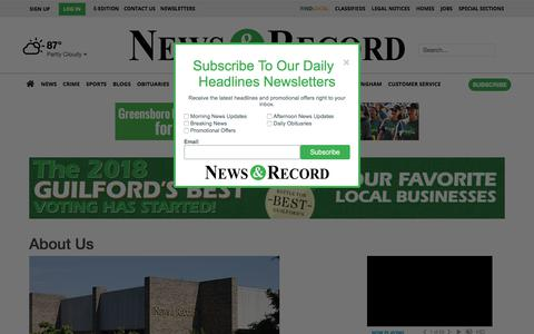 Screenshot of About Page greensboro.com - About Us | Site | greensboro.com - captured Sept. 20, 2018