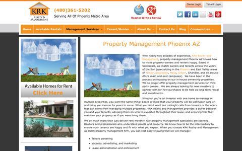 Screenshot of Services Page krkrealty.com - Property Management Phoenix AZ | KRK Realty and Management - captured Aug. 8, 2016