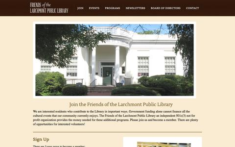 Screenshot of Signup Page friendsoflarchmontlibrary.org - Friends of the Larchmont Public Library - captured Oct. 1, 2014