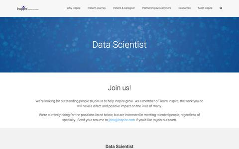 Screenshot of Jobs Page inspire.com - Data Scientist- INSPIRE is hiring new Data Scientist - captured July 5, 2017