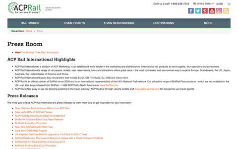 Screenshot of Press Page acprail.com - ACP Rail: Press Releases - captured Oct. 2, 2018