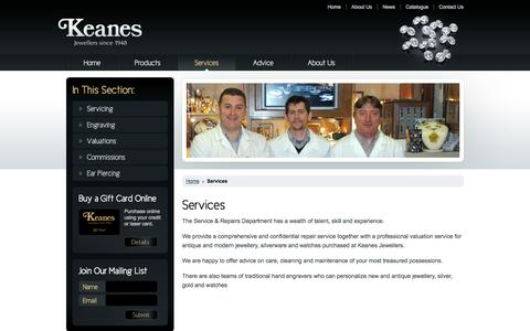 Screenshot of Services Page keanes.ie - Keanes Jewellers - Services - captured Oct. 6, 2014