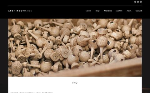 Screenshot of FAQ Page architectmade.com - Faq | ARCHITECTMADE - captured July 28, 2018