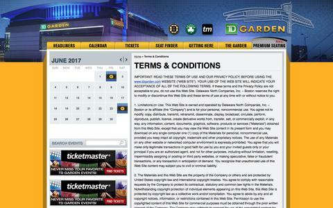 Screenshot of Terms Page tdgarden.com - Terms & Conditions | TD Garden - captured June 12, 2017