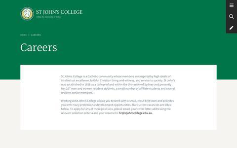 Screenshot of Jobs Page stjohnscollege.edu.au - Careers - St John's College - captured Nov. 18, 2018