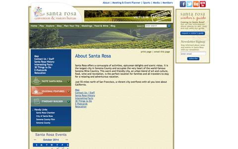 Screenshot of About Page visitsantarosa.com - About Santa Rosa : Santa Rosa Convention and Visitors Bureau - captured Oct. 4, 2014