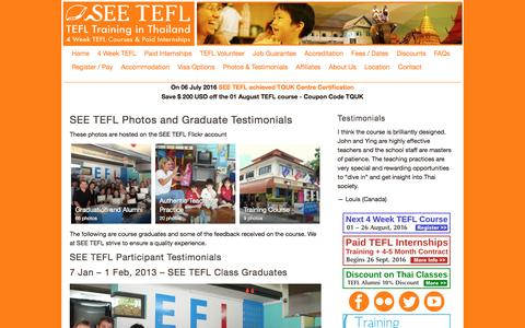 Screenshot of Testimonials Page seetefl.com - SEE TEFL Course Graduates and Feedback | SEE TEFL - captured July 20, 2016