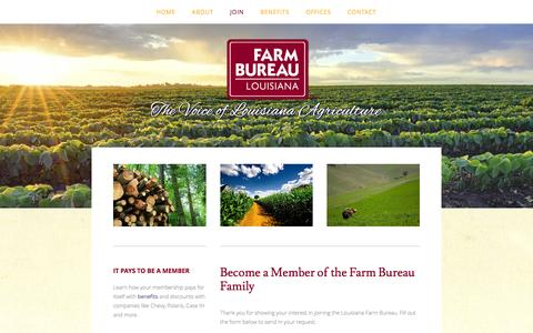 Screenshot of Signup Page lfbf.org - Join — Louisiana Farm Bureau Federation - captured Feb. 1, 2016