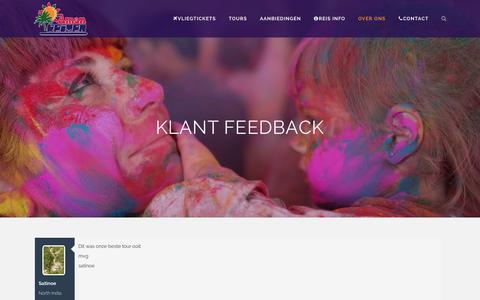 Screenshot of Testimonials Page amanreizen.nl - Aman India Reizen / vliegtickets India,Delhi, mumbai   Klant Feedback - Aman India Reizen / vliegtickets India,Delhi, mumbai - captured Nov. 5, 2014