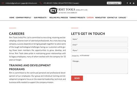 Screenshot of Jobs Page rmttools.com - Careers - RMT Tools - captured Sept. 21, 2018