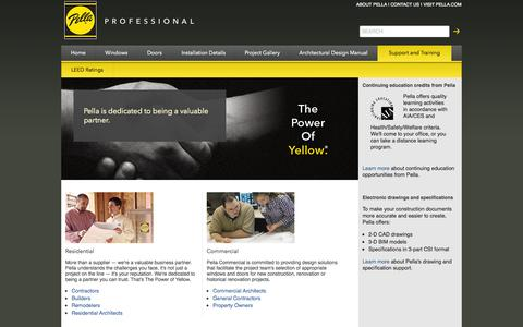 Screenshot of Support Page pella.com - Support & Training  | Pella Professional - captured Sept. 19, 2014