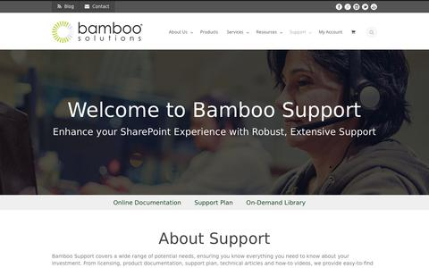 Screenshot of Support Page bamboosolutions.com - Bamboo Solutions  Support - Bamboo Solutions - captured May 31, 2017