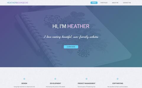 Screenshot of Home Page webheather.com - Heather Bourgeois - Designer + Developer - captured Sept. 6, 2015