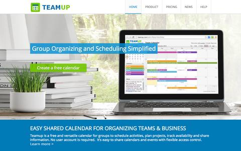Screenshot of Home Page teamup.com - Teamup Calendar | Shared Calendar for Groups ¦ Free for Up to 10 sub-calendars - captured Oct. 1, 2015