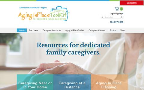Screenshot of Home Page aginginplacetoolkit.com - For Caregivers | Massachusetts | Aging in Place Toolkit - captured Aug. 19, 2017