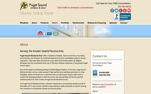Screenshot of About Page pugetsoundwindow.com - About Us - Puget Sound Window & Door - captured Nov. 13, 2016