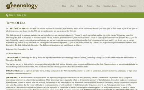 Screenshot of Terms Page greenology.sg - Terms of Use - Greenology - captured Sept. 30, 2018