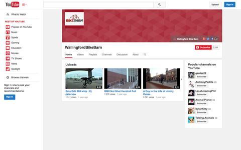 Screenshot of YouTube Page youtube.com - WallingfordBikeBarn  - YouTube - captured Oct. 25, 2014