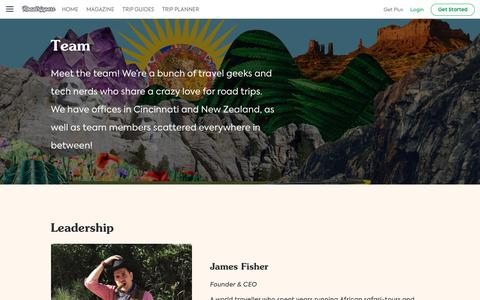 Screenshot of Team Page roadtrippers.com - Team | Roadtrippers - captured July 15, 2019