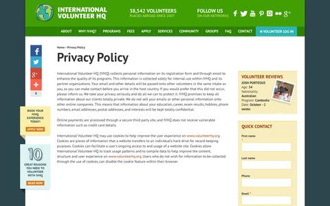 Screenshot of Privacy Page volunteerhq.org - Privacy Policy | International Volunteer HQ - captured Sept. 22, 2014